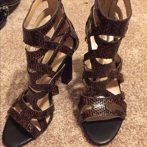 "Marc Fisher ""LEANA 2"" Caged Sandal Heels Brown 6.5"